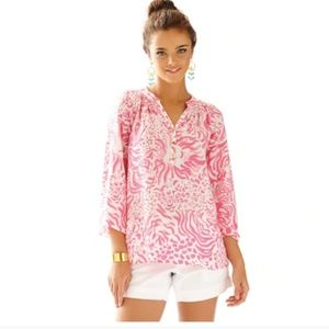 LILLY PULITZER Elsa Get Spotted Blouse NWT XL